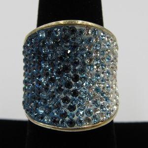 Vintage Size 6.75 Sterling Unique Crystal Ring